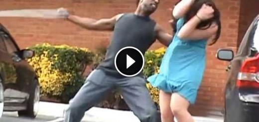stupid guy hits girlfriend