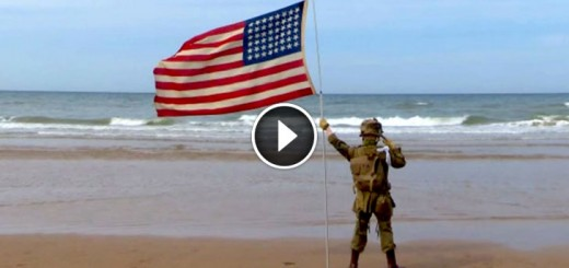 boy held salute beach