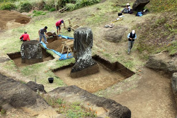 Easter Island Statues With Bodies