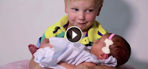 6 brothers meet newborn sister
