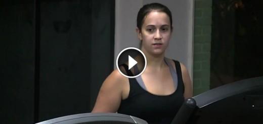 girl confused gym man one leg