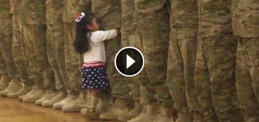 little girl hugs dad