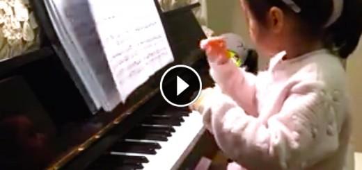 little girl piano